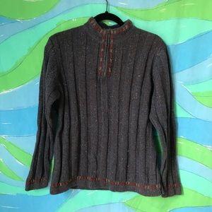 WOOLRICH grey blue knit 1/4 zip sweater size L